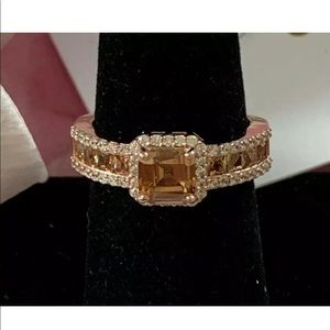 Suzy Levian 14k Rose Gold Plated Wht&brn Cz Ring